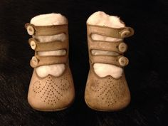 ANTIQUE VICTORIAN LEATHER BUTTON BABY SHOES WITH BUCKLES & DESIGNS