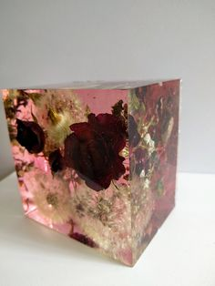 Preserving wedding Flowers in Large Resin Cube like glass Paperweight Keepsake Sweet romantic memories of your wedding, anniversary,funeral. by GiftswithloveArt on Etsy