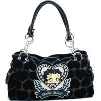 Betty Boop® Shoulder Bag w/ Velvet Heart Montage & Rhinestones - Black - FREE SHIPPING $52.00