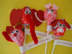 Valentine Lollipop Animals - Here's what you'll need...    • Lollipops  • Craft foam or felt (we used foam hearts)  • Google eyes  • Pipe Cleaners (for Cat and Elephant)  • String or yarn (for Mouse)  • Glue  • Printed Valentine Tags* (or make your own)