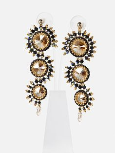 Seahorse CHANDELIER EARRINGS with Swarovski Crystals,Black Cognac Statement earrings for special events, evening jewelry - 4723