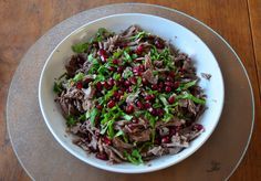 Warm shredded lamb salad with mint and pomegranate - easy pressure cooker recipe