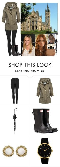 """""""Touring the University of Glasgow with Tess and Ailee on a rainy day"""" by chineye-aworh ❤ liked on Polyvore featuring Topshop, Guide London, TALLY WEiJL, Hunter, Kendra Scott, Larsson & Jennings, MICHAEL Michael Kors, women's clothing, women's fashion and women"""