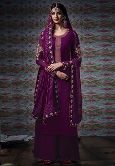 """#Beautiful #Wine #Georgette #Chuddidar #Kameez #with #Dupatta Wine Georgette kameez designed with Zari,Resham Embroidery. Available with Wine Santoon Bottom with matching Pure Bemberg Chiffon Dupatta. This Semi Stitch kameez can be customized upto 44"""""""" inches. #With #Exciting #Offer INR:-2,843.00 Only Shop Now At http://tinyurl.com/n5ntv6a"""