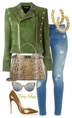So Put Together! by terra-glam on Polyvore featuring polyvore fashion style Balmain Ted Baker Fendi Christian Louboutin clothing