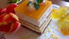 Bardzo lekkie, wilgotne ciasto przekładane masą z białej czekolady z wkładką serową i musem z mango. Upieczone od serca na Dzień Babci. Zachwyci również smakiem i wyglądem gości na wielkanocnym stole. Mango, Cheesecake, Food And Drink, Pudding, Sweet, Ladder Decor, Bakken, Manga, Candy