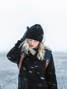 Waiwo beanie of merino wool and Waris backpack of recycled materials by COSTO. Photograph by Sanni Vierelä in Finnish Lapland Recycled Materials, Merino Wool, Backpack, Winter Hats, Photograph, Beanie, Stripes, My Style, Fashion