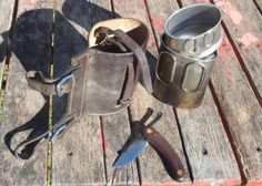Traditional Australian stockmans quart pot and leather pouch