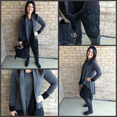 How amazing is this grey hi lo sweater with black cuffs?! It comes with a reversible infinity scarf that can be grey or black! Available S, M, L, $58. We put it over our Miraclebody pull on printed leggings with shape wear built in!!! A great outfit to get ready for the cooler weather coming this weekend! Open until 6pm.