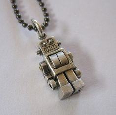 sterling silver robot charm