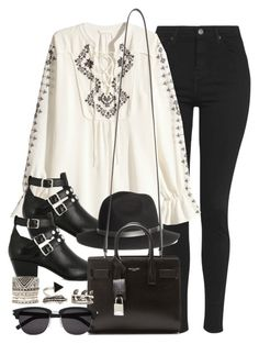 """""""Style #10343"""" by vany-alvarado ❤ liked on Polyvore featuring Topshop, H&M, Yves Saint Laurent and Forever 21"""