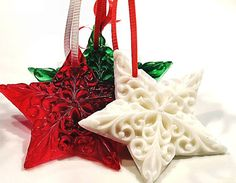 Christmas Ornament Soap Star  Set of Five by SoapRhapsody on Etsy