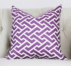 Quadrille Aga Purple Pillow Cover - Geometric Pillow - Throw Pillow - Purple Home Decor - Zig Zag - China Seas