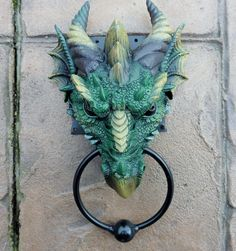 A large solid and weighty Dragon head knocker to add that bit of individuality to your front door! DRAGON HEAD DOOR KNOCKER. Tip of horn to bottom of ring is 24cm. This would make an ideal gift for the lover of Dragons and all things Mystical. | eBay!