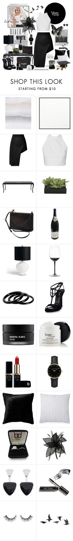 """""""Life in Black & White"""" by fashionstudiolondon ❤ liked on Polyvore featuring WALL, By Lassen, Meggie, Opening Ceremony, Chanel, Lux-Art Silks, CÉLINE, Grandin Road, Riedel and Furla"""