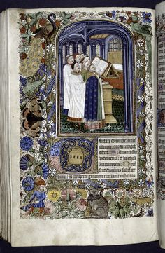 Miniature of clerics at a lectern, with noted book, singing (Psalm 97); with border design, initials.
