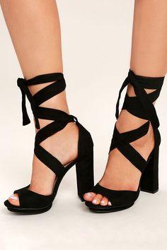 8691ed1904f Dorian Black Suede Lace-Up Platform Heels