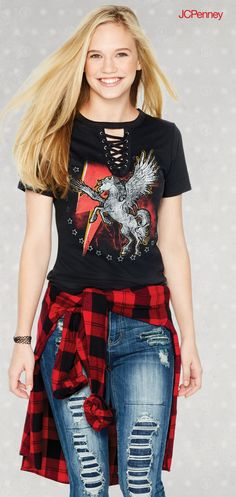 Let your back to school outfit ideas come together with destructed denim, buffalo plaid button up shirts and graphic tees with lace up details. This fall outfit has an edge of cool and comfort that will make this your go to look for fall events or school. Try coordinating with color and your favorite pair of jeans for a fall outfit you can totally rock.