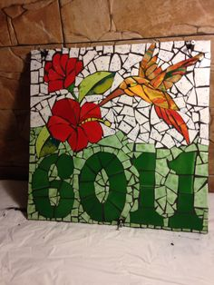 Número de casa Mosaic Diy, Mosaic Garden, Mosaic Crafts, Mosaic Projects, Mosaic Wall, Mosaic Glass, Glass Art, Mosaic Stepping Stones, Mosaic Birds