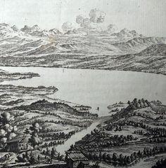 1773 J.B. Bullinger (copper engraving) Zürichsee Neujahrsblatt der Stadt-Bibliothek Zürich