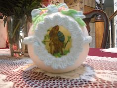 """Large Horizontal (7 1/2"""" Long) Victorian Panoramic Sugar Easter Eggs Front View"""