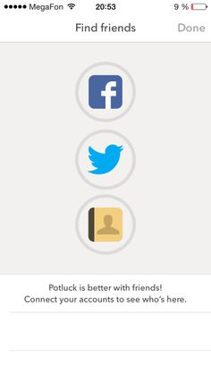 Potluck - Add Friends Screen  Nice UI buttons for Social media / Contacts