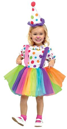 This little circus sweetie is ready to steal the show in our Big Top Fun Clown Toddler Costume. Girls will be looking forward to running away with the circus and making audiences laugh with her funny performance act. Our toddler Big Top Fun Clown Costume includes includes a knee-length tutu dress featuring a white bodice with colorful polka dots, puff sleeves, ruffle collar, attached suspenders and a rainbow colored mesh tutu skirt and a coordinating colorful polka dot cone-shaped hat
