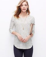 Striped Shirttail Tee - In a lightweight linen blend, this smart shirttail hem style is one of spring's style anchors. Round neck. 3/4 sleeves. Drop shoulders. Woven insets at side slits. Shirttail hem.