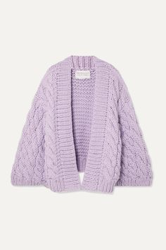 I Love Mr Mittens Cable-knit Wool Cardigan In Lilac Chunky Cardigan, Wool Cardigan, I Love Mr Mittens, Sweater Weather, Fashion Advice, World Of Fashion, Cable Knit, Knitwear, Men Sweater
