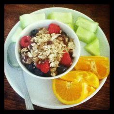 Post run breakfast: free yogurt with homemade granola and berries. Honeydew melon and 2/3 of an orange