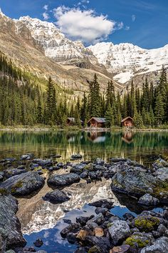 Lake O'Hara Lodge in Yoho National Park, British Columbia, Canada.  Idyllic Mountain scenery in the Canadian Rockies with snowy mountain peaks, perfect reflection and the picturesque log cabins on the shore of Lake O'Hara.