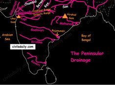 The Peninsular Drainage: The Peninsular drainage system is older than the Himalayan one. This is evident from the broad, largely-graded shallow valleys, and the maturity of the rivers. Geography Map, Geography Lessons, Teaching Geography, Physical Geography, General Knowledge Book, Gernal Knowledge, Knowledge Quotes, India World Map, India Map
