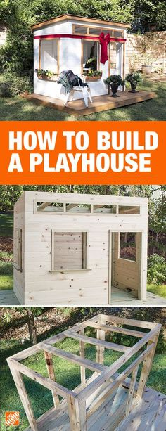 Surprise your little ones with the quintessential gift that keeps on giving. A playhouse is a great way to encourage imaginative play and can become anything from a cafe to a house for superheroes… Build A Playhouse, Backyard Playhouse, Kids Playhouse Plans, Outdoor Playhouses, Pallet Playhouse, Pallet Patio, Kids Outside Playhouse, Modern Playhouse, Childrens Playhouse