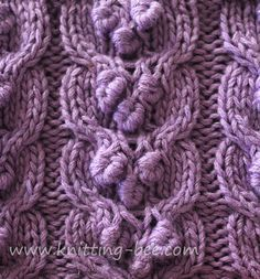 Free Bobbled Cable Knitting Stitch from The Knitting Bee http://www.knitting-bee.com/knitting-pattern-treasury/cable-knitting-patterns/bobbled-cable-knitting-stitch#