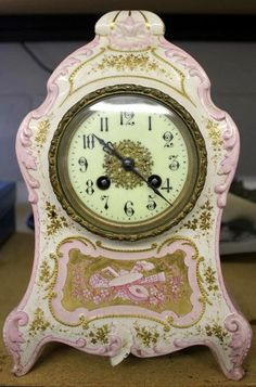 French Enameled Porcelain Gilt Mantle Clock 19thC