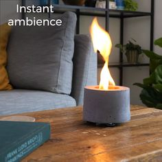 A portable way to enjoy the cozy comfort of a fire I Runs on clean-burning rubbing alcohol art ideas videos Indoor Tabletop Fire Pit Concrete Crafts, Concrete Projects, Outdoor Projects, At Home Projects, Best Diy Projects, Diy Backyard Projects, Diy Projects Room Decor, Diy Concrete Planters, Concrete Garden