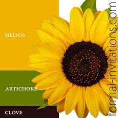 sunflower wedding color palette