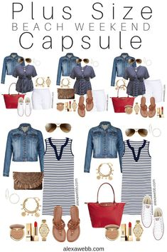 Plus Size Beach Weekend Capsule - Plus Size Vacation Packing List - Plus Size Fashion for Women - Alexa Webb - Beach Outfit Plus Size, Dress Plus Size, Plus Size Outfits, Plus Size Beach Dresses, Outfit Beach, Capsule Outfits, Mode Outfits, Plus Size Fashion For Women, Plus Size Women