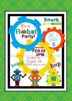 Robot birthday invitations by the inviting pear robot party ideas robot birthday invitation 5x7 digital by barefootstudiosok on etsy filmwisefo Images