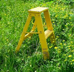 Vintage Canary Yellow Step Ladder Shabby Chic Chippy by esther2u2, $55.00