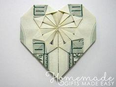 Money Origami Heart, Origami Love Heart, Origami Star Box, Origami Fish, Origami Boxes, Origami Ball, Origami Ideas, Oragami Money, Diy Origami