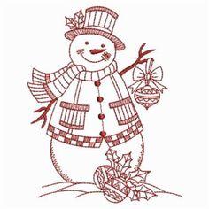 Snowman Redwork embroidery design (10)