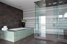 Soapstone bathtub   Contemporary master bathroom with soapstone bathtub enclosure and ...