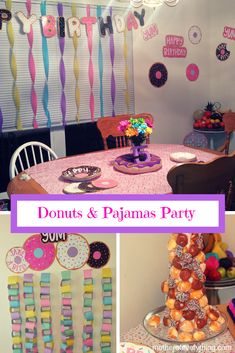 donuts & pajams party, Donut Party, 5 year old party ideas, Birthday Party Ideas, Birthday party ideas Donut Birthday Parties, 5th Birthday Party Ideas, Donut Party, Birthday Party Games, Birthday Crafts, Birthday Decorations, 10th Birthday, Baby Birthday, Best Birthday Wishes
