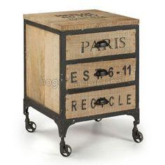 Mueble cajonera vintage UHTO de 3 cajones fabricado en hierro con madera. Las patas tienen ruedas para poder moverlo mejor. El estilo vintage se caracteriza por el uso de materiales recliclados como los palets de madera. En nuestra colección vintage podrás ver otros muebles a juego. Las medidas de este mueble son: 50x50 cm. de fondo y altura de 72 cm. Tiene un peso de 34,5kg. No requiere montaje.