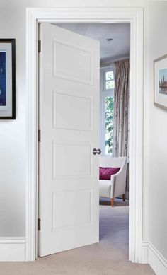 CLASSIC 4-PANEL (FD30 - BESPOKE) - Traditionally styled door for classic homes Door features decorative inset moulding detail and flat panels. Door is manufactured from a man-made material which is pre-primed for onsite finishing. Solid core, engineered construction giving a substantial feel FD30 - 30 minute fire door Veneer Door, Wood Veneer, Timber Door, Wooden Doors, Panel Moulding, Fire Doors, Internal Doors, Classic House, Real Wood