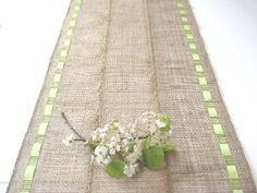 BurlapTable Runner With Citrus Green Ribbon Earth by Wonders4You