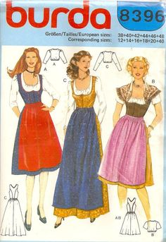 Misses German Bavarian Dirndl Dress Apron Blouse Sewing Pattern, Burda Costume Patterns, Sewing Patterns, Burda Patterns, Octoberfest Costume, German Costume, Dirndl Dress, Make Your Own Clothes, Couture, Traditional Dresses