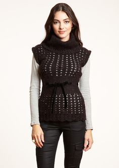 CHAUDRY  Turtleneck Cap Sleeve Sweater