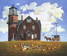 Charles Wysocki - Gay Head Light - Open Edition Giclee on Canvas Complete colection of art, limited editions, prints, posters and custom framing on sale now at Prints. Horse And Buggy, Puzzle Art, Poster Prints, Art Prints, Naive Art, Fine Art Gallery, Head Light, Folk Art, Illustration Art